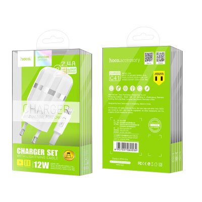 Сетевой адаптер hoco C41A Wisdom Dual Port Charger set with Lightning cable (EU) - White