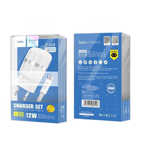 Сетевой адаптер hoco C41A Wisdom Dual Port Charger set with micro cable (EU) - White