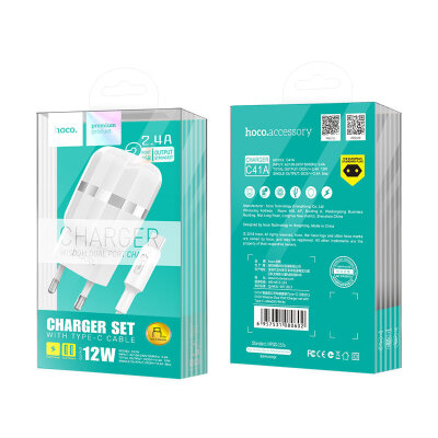 Сетевой адаптер hoco C41A Wisdom Dual Port Charger set with Type-C cable (EU) - White