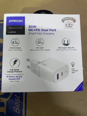 Сетевой адаптер Joyroom L-QP301 Fast Charger QC+PD 30W