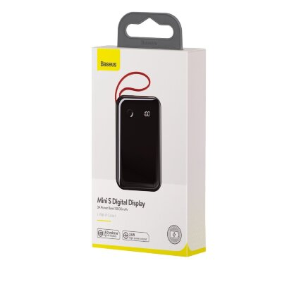 Power Bank Baseus Mini S Digital Display 3A 10000mAh (With IP Cable) (PPXF-B01) - Black