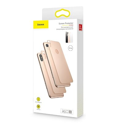 Комплект защитных стекол Baseus 0.3mm Full coverage curved tempered glass rear protector для iPhonr Xs 5.8 - Золотой