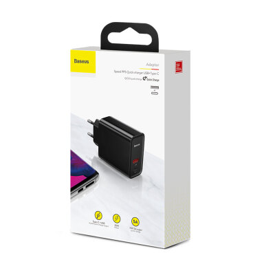 Сетевое зарядное устройство Baseus Speed PPS Quick charger C+U 30W EU (CCFS-C01) - Black
