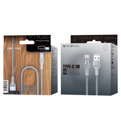 Кабель Borofone BX2 PowerSync USB Cable – Type-C - Серый