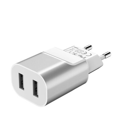 Сетевой адаптер hoco C47A Metal dual port charger(EU) - Серебристый