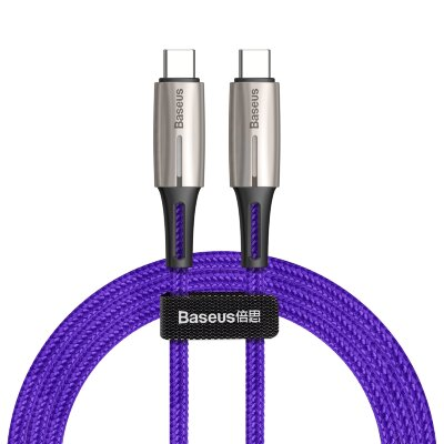 Кабель Baseus Water Drop-shaped Lamp Type-C PD2.0 60W Flash Charge Data Cable 20V 3A 1m (CATSD-J05) - Purple