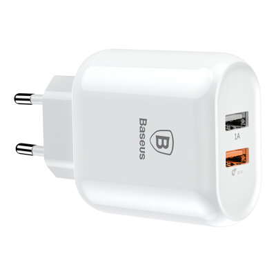 Сетевой Адаптер Baseus Bojure Series Dual-USB quick charge charger for  23W (EU)(CCALL-AG02) - White
